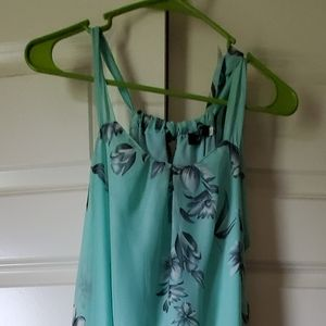 Green flower print dress